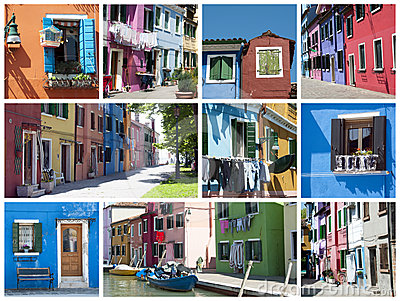 Colorful houses in Burano - collage