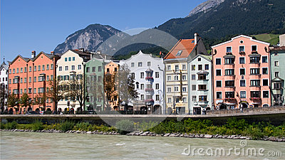 Colorful houses in Innsbruck Editorial Image
