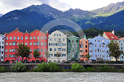 Colorful houses of Innsbruck, Austria Editorial Stock Image