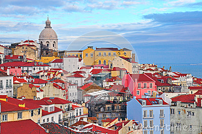 Colorful houses of Lisbon Editorial Photo
