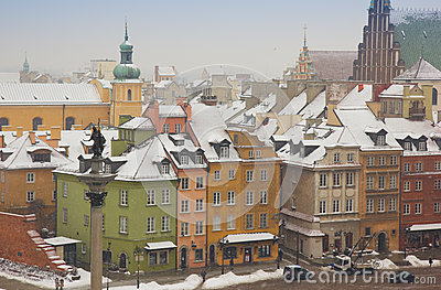 Colorful houses of old town, Warsaw, Poland