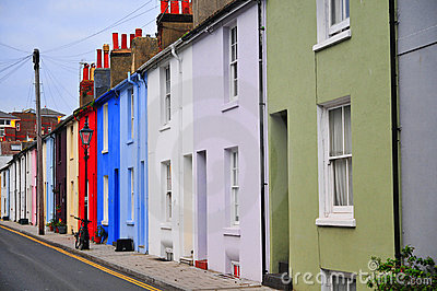 Colorful houses on a row in a Brighton street