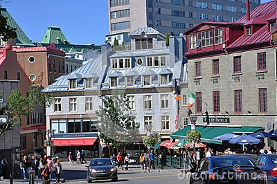 Colorful Houses in Old Quebec City Editorial Stock Image