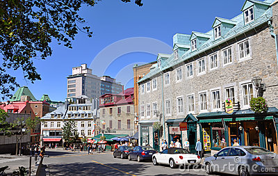 Colorful Houses in Old Quebec City, Canada Editorial Photography