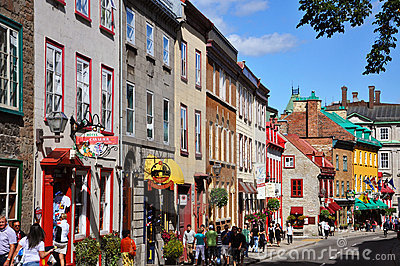 Colorful Houses on Rue Saint Louis, Quebec City Editorial Photography