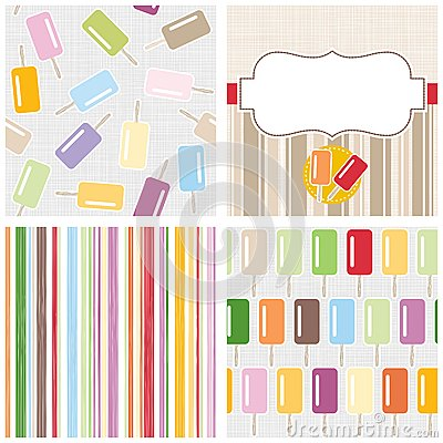 Colorful ice cream background set