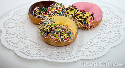 Colorful iced donuts