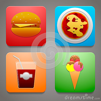 Colorful icons with a delicious meal for your site