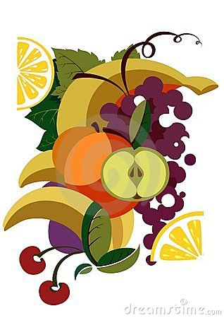 Colorful illustrated fruit