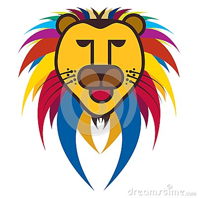 Colorful illustration of king of jungle - Lion