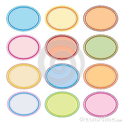 Colorful Illustration Set of Oval Frames for Desig