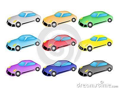 Colorful Illustration Set of Sports Car Icon