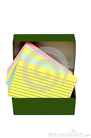 Colorful Index Cards In Vintage Metal Box