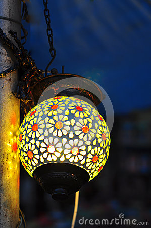 Colorful Indian street lamp