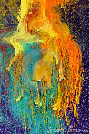 Colorful ink mixing abstract