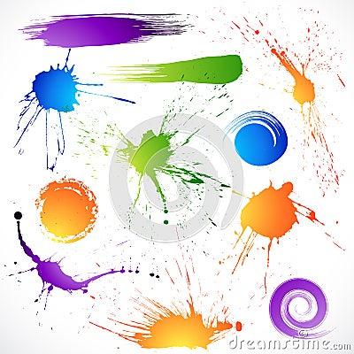 Colorful ink splats