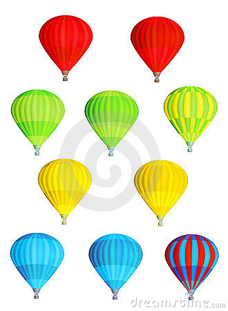 Colorful isolated hot air balloons