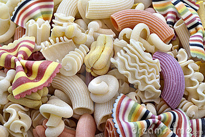 Colorful italian pasta