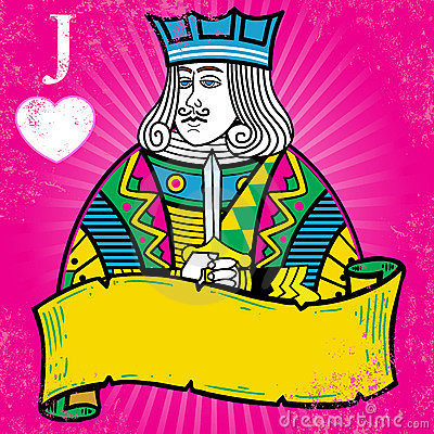 Colorful Jack of Hearts with banner illustration