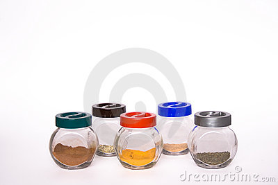 Colorful jars with exotic spic