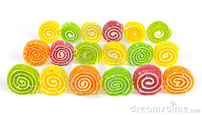 Colorful jelly in sugar