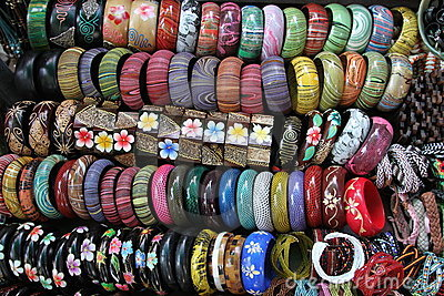 colorful jewelry bracelets on display at market