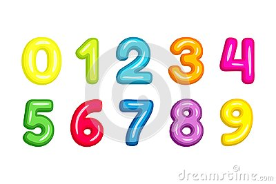 Colorful kid font numbers vector illustration isolated on white Vector Illustration