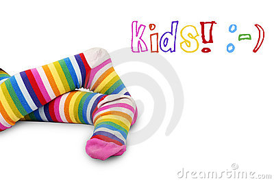Colorful kid s feet