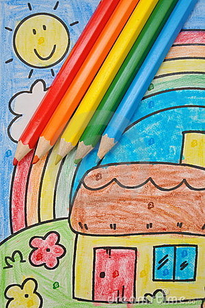 Colorful kids  drawing: home, rainbow, sun, sky