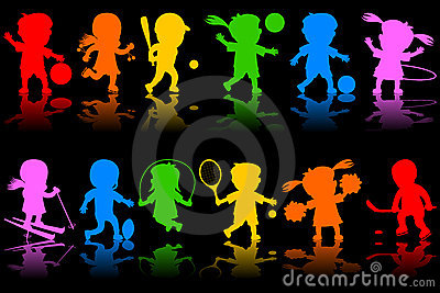 Colorful Kids Silhouettes [1]