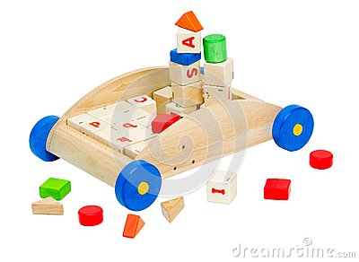 Colorful kids  toy blocks in the wooden car