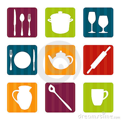 Colorful kitchen tool icons