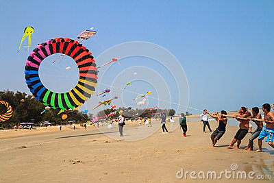 Colorful kite against blue sky Editorial Stock Photo