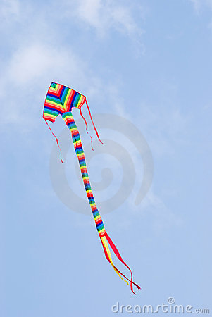 Colorful kite flying in blue sky.