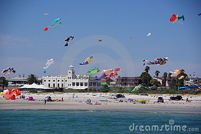 Colorful kites in midair Editorial Stock Photo