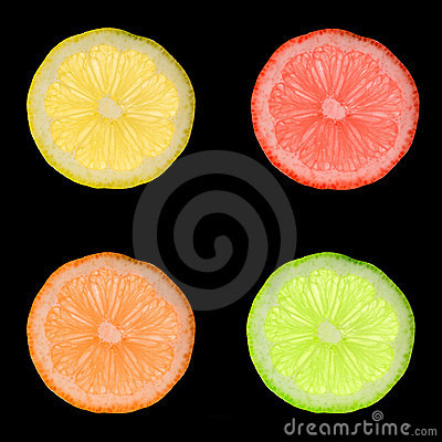 Colorful lemon slices