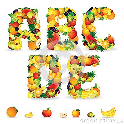Free Colorful Letters From Fruit And Berries. Clip Art Stock Images - 30970014