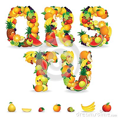 Free Colorful Letters From Fruit And Berries. Clip Art Stock Image - 30970041