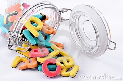Colorful letters in the jar
