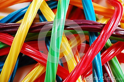 Colorful licorice ribbons