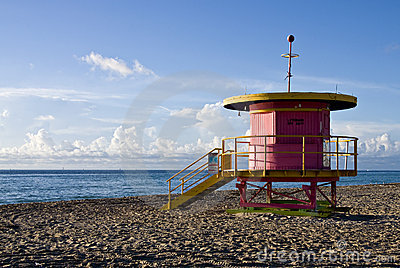 Colorful lifeguard stand, in South Beach, Miami, F