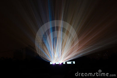 Colorful light beam from movie projector