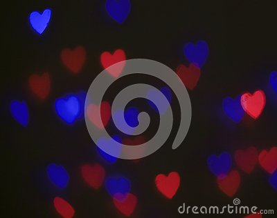 Colorful light hearts Stock Photo