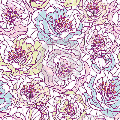 Colorful line art flowers seamless pattern