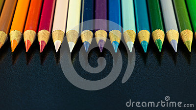 Colorful line of pencils