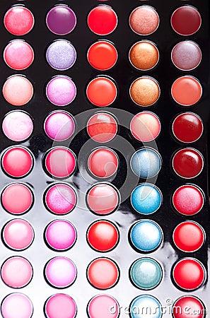 Colorful lip gloss palette
