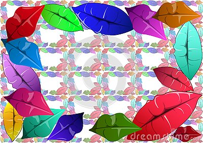 Colorful lips decorate the canvas. Vector Illustration