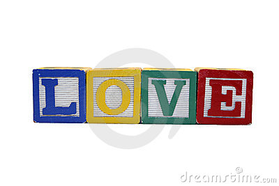 Toy Blocks Spell Love - Isolated on White