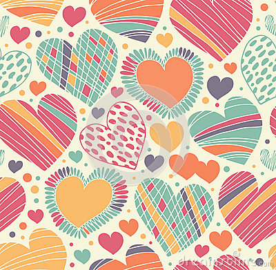 Free Colorful Love Ornamental Pattern With Hearts. Seamless Scribble Background. Royalty Free Stock Image - 64284376