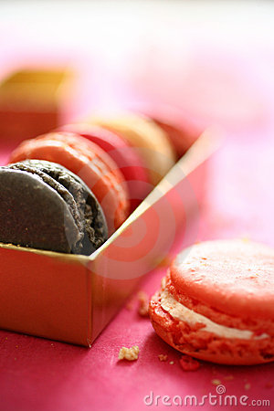 Colorful macaroons in box